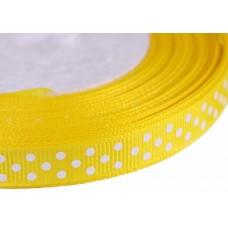 Лента репсовая желтая в горошек, 1 метр