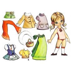 """Фетр с рисунком """"Кукла 1 из фетра"""""""