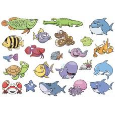 """Фетр с рисунком """"Морские рыбы"""""""