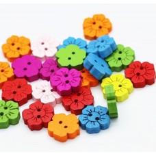 """Набор деревянных пуговиц """"Цветы 1"""", 10 шт."""