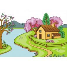 """Фетр с рисунком """"Фон сезона весна"""""""