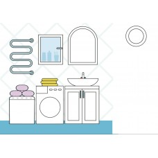 "Фетр с рисунком ""Ванная комната 2"""