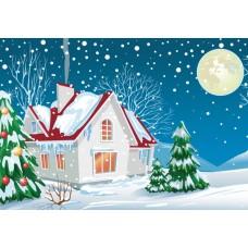 Зимний домик (Печать на ткани)
