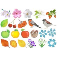 """Фетр с рисунком """"Яблоки, цветы, птицы. снежинки"""""""
