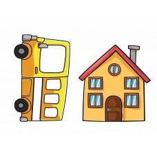 Дом и автобус (Печать на фетре)