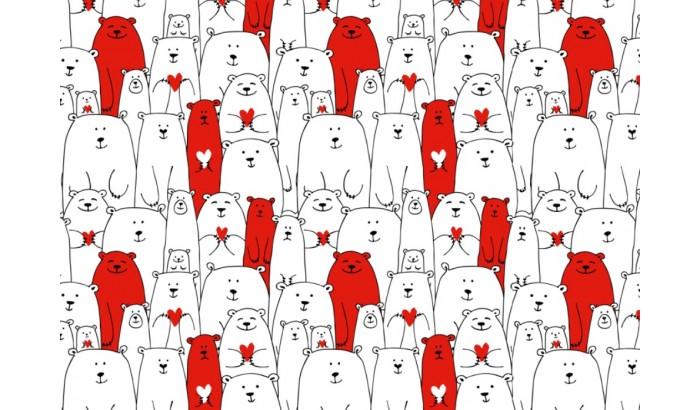"""Печать на фетре """"Медведи красно-белые"""""""
