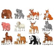 """Фетр с рисунком """"Мама и малыш животные"""""""