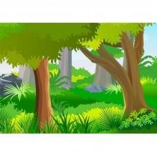 """Велкроткань с рисунком """"Зеленый лес"""""""