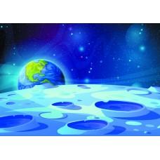 Космос вид с луны (Печать на ткани)