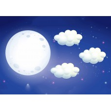 Луна с облаками (Печать на ткани)