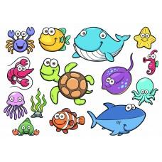 Морские рыбки 01 (Печать на ткани)