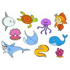 Морские рыбки 04 (Печать на ткани)