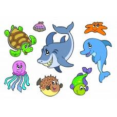 Морские рыбки 07 (Печать на ткани)