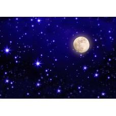 Звездное небо с луной (Печать на ткани)