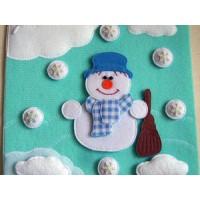 Новогодний снеговик, страничка из велкроткани