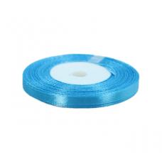 Лента атласная 6 мм, голубая, 1 метр