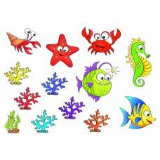 """Фетр с рисунком """"Морские рыбы и кораллы"""" 2"""