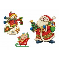 """Фетр с рисунком """"Дед мороз и снеговик"""""""