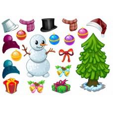 "Фетр с рисунком ""Снеговик и елка"""