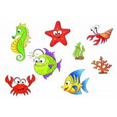 """Фетр с рисунком """"Морские рыбы"""" 2"""
