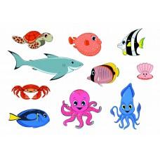 """Фетр с рисунком """"Морские рыбы"""" 3"""