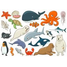 "Фетр с рисунком ""Морские животные"""
