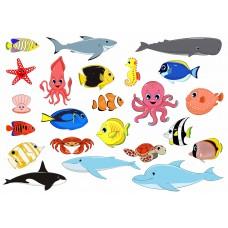 """Фетр с рисунком """"Морские рыбы"""" 02"""