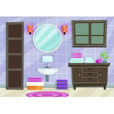 "Фетр с рисунком ""Ванная комната 003"""