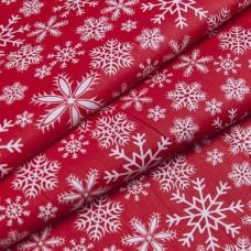"""Ткань натуральный хлопок """"Снежинки на красном"""""""