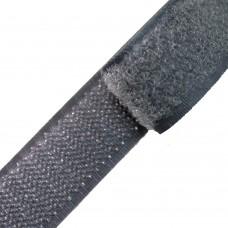 Липучка (велкро) темно-серая 25 мм, 1 метр
