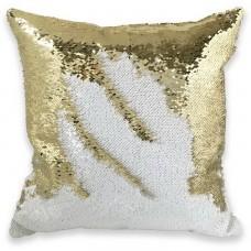 Подушка декоративная с пайетками. Белый с золотом