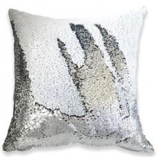 Подушка декоративная с пайетками. Белый с серебром