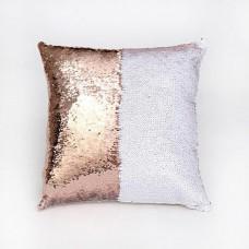 Подушка декоративная с пайетками. Медь с белым