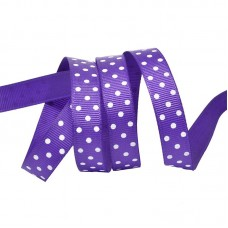 Лента репсовая фиолетовая в горошек, 1 метр
