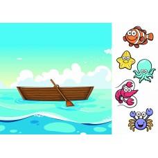 Страничка лодка (Печать на ткани)