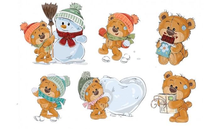 "Фетр с рисунком ""Зимние мишки"""