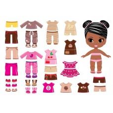"""Фетр с рисунком """"Фетровая кукла с одеждой 004"""""""