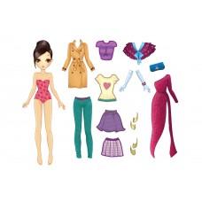 """Фетр с рисунком """"Фетровая кукла с одеждой 005"""""""