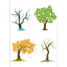 "Фетр с рисунком ""4 сезона дерево """