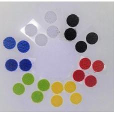 Липучка круглая цветная. 15 мм, набор 12 шт