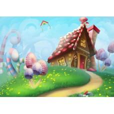 """Велкроткань с рисунком """"Сладкий домик"""""""