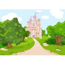 """Велкроткань с рисунком """"Розовый замок"""""""
