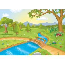 """Велкроткань с рисунком """"Лес с речкой"""""""