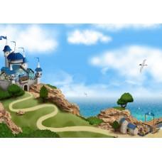 """Велкроткань с рисунком """"Замок на берегу"""""""