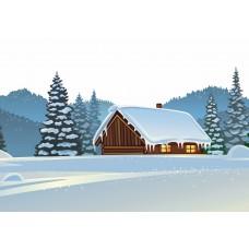"Велкроткань с рисунком ""Зимний домик"""